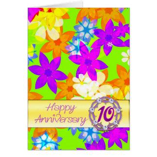 Aniversário das flores fabulosas 10o para o esposo cartão comemorativo