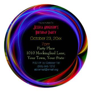 Aniversário das luzes de néon do laser convite quadrado 13.35 x 13.35cm