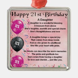 Aniversário de 21 anos do poema da filha enfeites para arvore de natal