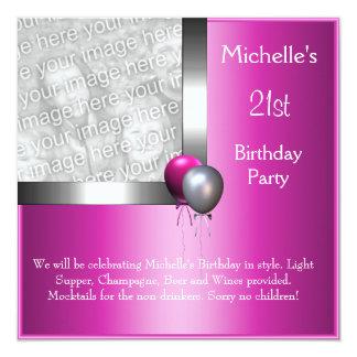 Aniversário de 21 anos elegante do balão do rosa convite personalizado