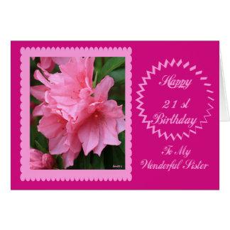 Aniversário de 21 anos feliz a minha irmã cartão comemorativo