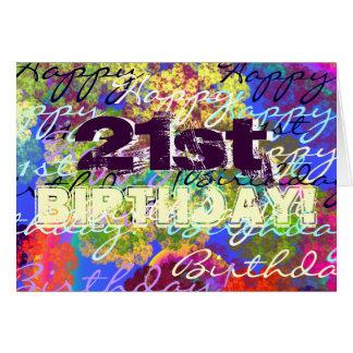 Aniversário de 21 anos feliz! cartão comemorativo