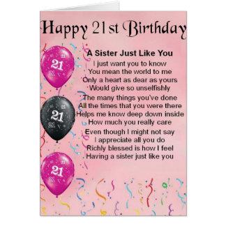 Aniversário de 21 anos feliz - poema da irmã cartão comemorativo