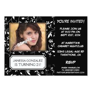 Aniversário de 21 anos para a jovem senhora BW Convite Personalizados