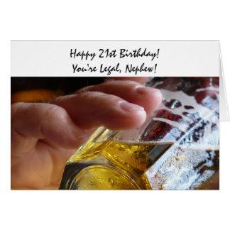 Aniversário de 21 anos, sobrinho, cerveja, você é cartão