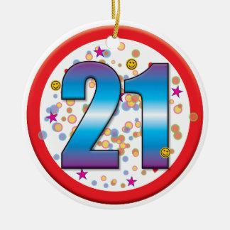 Aniversário de 21 anos v2 ornamento de cerâmica redondo