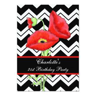Aniversário de 21 anos vermelho branco preto da convites personalizado