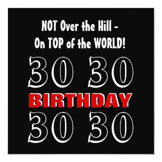 Aniversário de 30 anos W1025 engraçado preto de Convite Quadrado 13.35 X 13.35cm