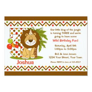 Aniversário de 3 anos bonito do leão convites personalizados