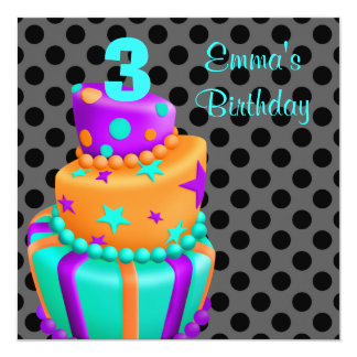 Aniversário de 3 anos das meninas dos presentes do convite quadrado 13.35 x 13.35cm