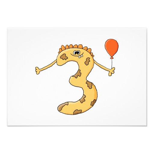 Aniversário de 3 anos. Desenhos animados amarelos  Convites