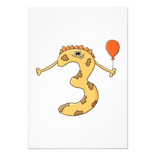 Aniversário de 3 anos. Desenhos animados amarelos  Convites Personalizado