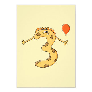Aniversário de 3 anos Desenhos animados amarelos Convites Personalizados