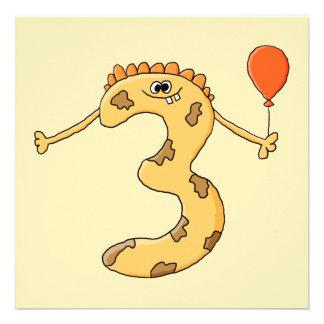 Aniversário de 3 anos Desenhos animados amarelos Convites