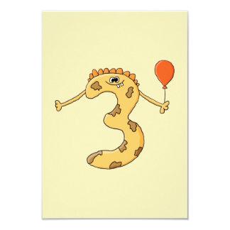 Aniversário de 3 anos. Desenhos animados amarelos Convite 8.89 X 12.7cm