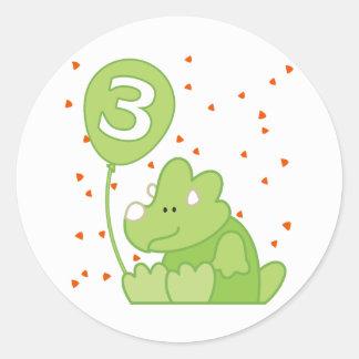 Aniversário de 3 anos do bebê de Dino Adesivos Redondos