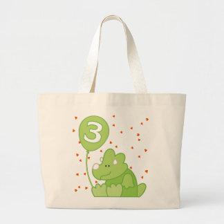 Aniversário de 3 anos do bebê de Dino Bolsa Para Compras