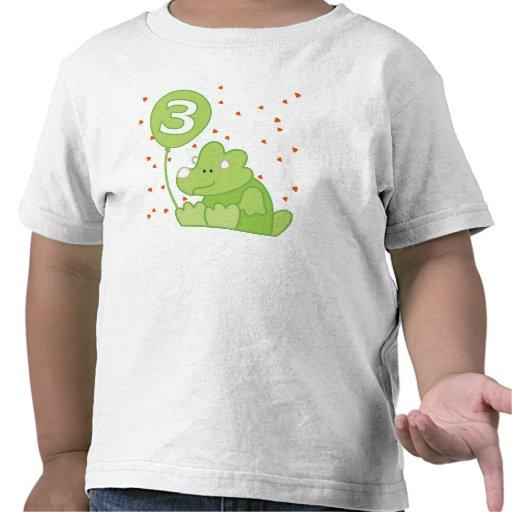 Aniversário de 3 anos do bebê de Dino T-shirt