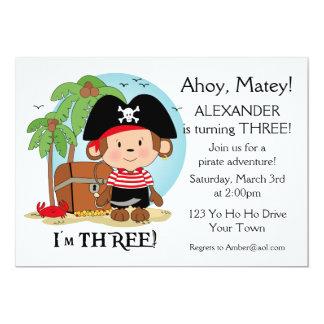 Aniversário de 3 anos do pirata do macaco convites