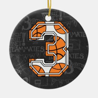 Aniversário de 3 anos do quadro do basquetebol ornamento de cerâmica redondo