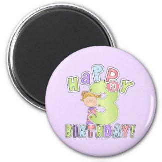 Aniversário de 3 anos feliz das meninas imã de refrigerador