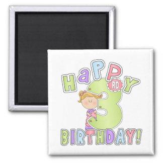 Aniversário de 3 anos feliz das meninas imãs
