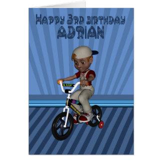 Aniversário de 3 anos feliz nomeado Adrian, neto Cartão Comemorativo