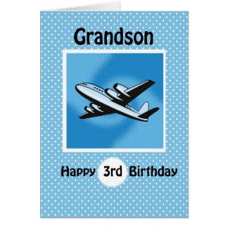Aniversário de 3 anos, neto, avião no azul cartão comemorativo