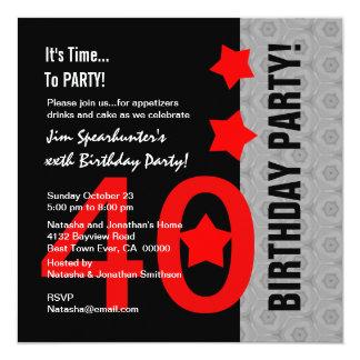 Aniversário de 40 anos A02 engraçado preto de Convite Quadrado 13.35 X 13.35cm