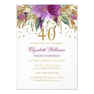 Aniversário de 40 anos Amethyst Sparkling do Convite 12.7 X 17.78cm