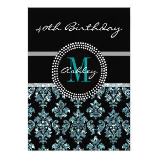 Aniversário de 40 anos azul feminino do damasco do convites