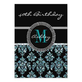 Aniversário de 40 anos azul feminino do damasco do convite 12.7 x 17.78cm