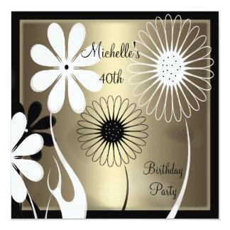 Aniversário de 40 anos branco preto de bronze convite quadrado 13.35 x 13.35cm