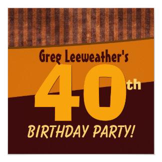 Aniversário de 40 anos Brown e listras C324 do Convite Quadrado 13.35 X 13.35cm