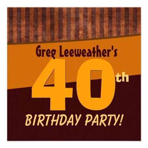 Aniversário de 40 anos Brown e listras C324 do our Convite