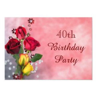 Aniversário de 40 anos chique dos rosas vermelhos