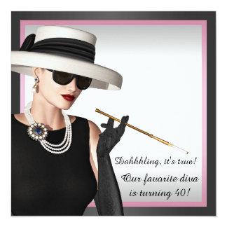 Aniversário de 40 anos cor-de-rosa e preto da diva convite quadrado 13.35 x 13.35cm