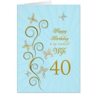 Aniversário de 40 anos da esposa com borboletas cartão comemorativo