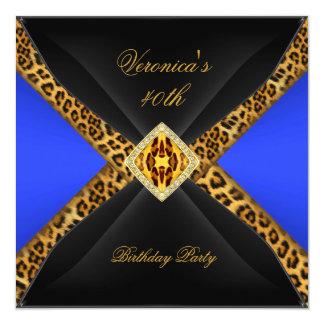 Aniversário de 40 anos da jóia do leopardo do convite quadrado 13.35 x 13.35cm