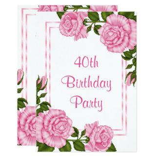 Aniversário de 40 anos de canto cor-de-rosa bonito convite 12.7 x 17.78cm