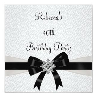 Aniversário de 40 anos de prata branco preto do convite personalizados