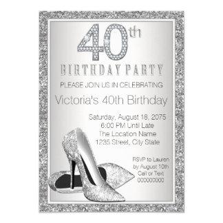 Aniversário de 40 anos de prata dos calçados do convite 11.30 x 15.87cm