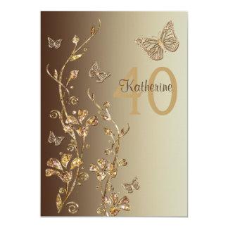 Aniversário de 40 anos do âmbar, das flores de convite 12.7 x 17.78cm