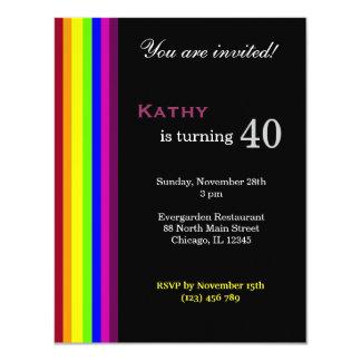 Aniversário de 40 anos do arco-íris convite 10.79 x 13.97cm