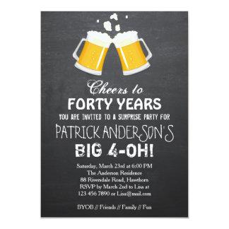 Aniversário de 40 anos do convite/cerveja do convite 12.7 x 17.78cm