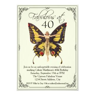 Aniversário de 40 anos do Flapper do vintage Convite 12.7 X 17.78cm