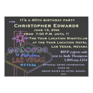 Aniversário de 40 anos em Las Vegas para o homem Convite 12.7 X 17.78cm