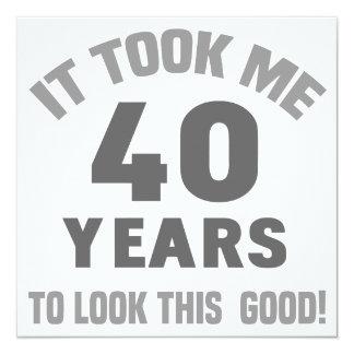 Aniversário de 40 anos engraçado convite quadrado 13.35 x 13.35cm