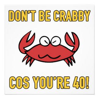Aniversário de 40 anos engraçado Crabby Convites Personalizados