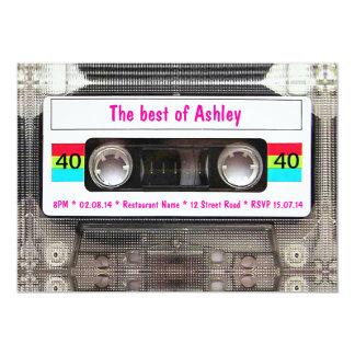 Aniversário de 40 anos engraçado da cassete de convite personalizado